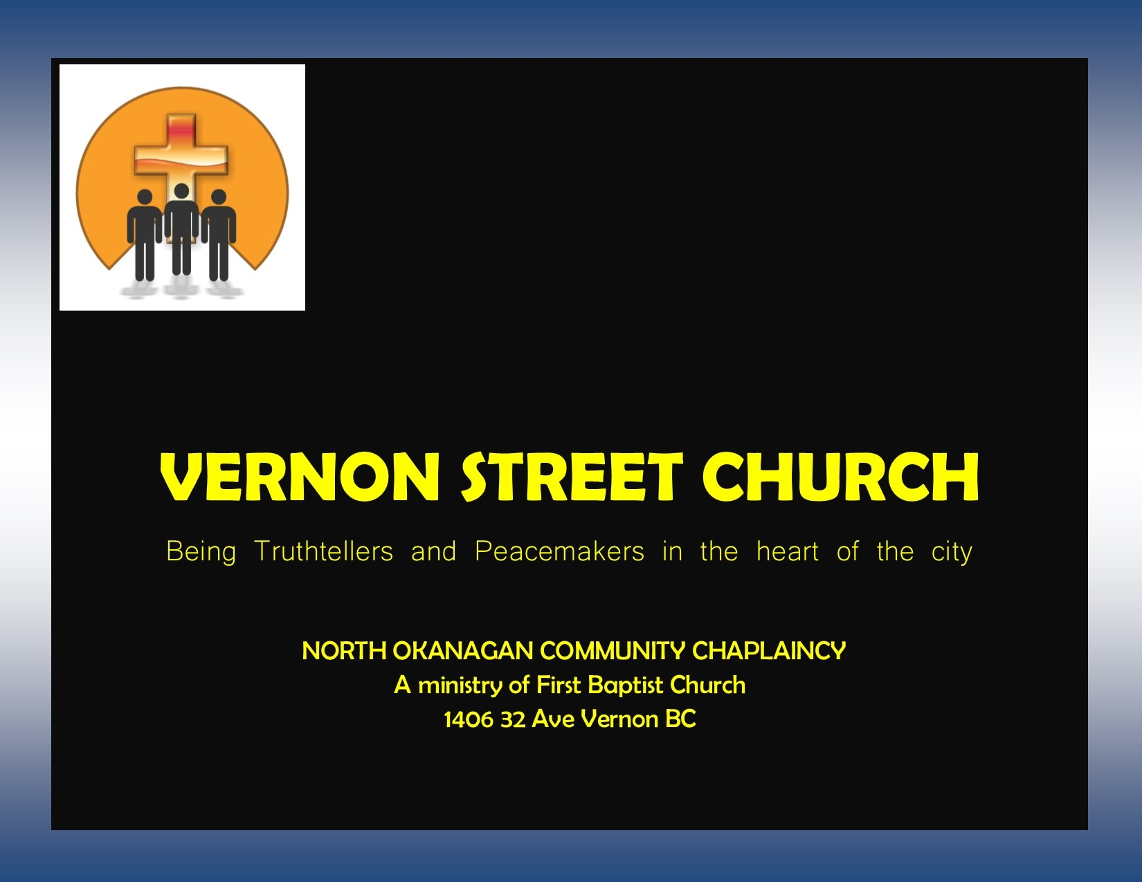 Vernon Street Church  In January 2016 the chaplaincy began a new area of ministry. As Chuck continued to see gaps he saw a need for spiritual care in a different setting, and physical care as well. There was also no regular food service for the marginalized of our community and, combining these two needs, Street Church was formed. Working with a number of like minded friends we began serving food and worshiping one Sunday a month at the Mission. We then moved into the Salvation Army's House of Hope. We are now looking at having street church twice monthly as the need continues. Please follow our Street Church page on Facebook or here on our website for updates and special events.  Each Sunday we have Tailgate Street Church in the parking lot of the Upper Room Mission.  On the Sunday before wellfare cheques come out we have a full meal and service at 1pm at House of Hope (Salvation Army) - usually the 3rd Sunday of the month.
