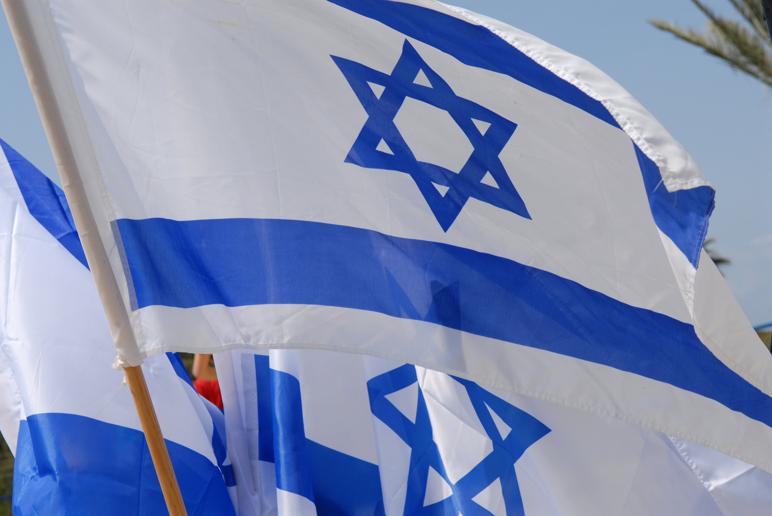 Group of Israeli Flags Flying.JPG