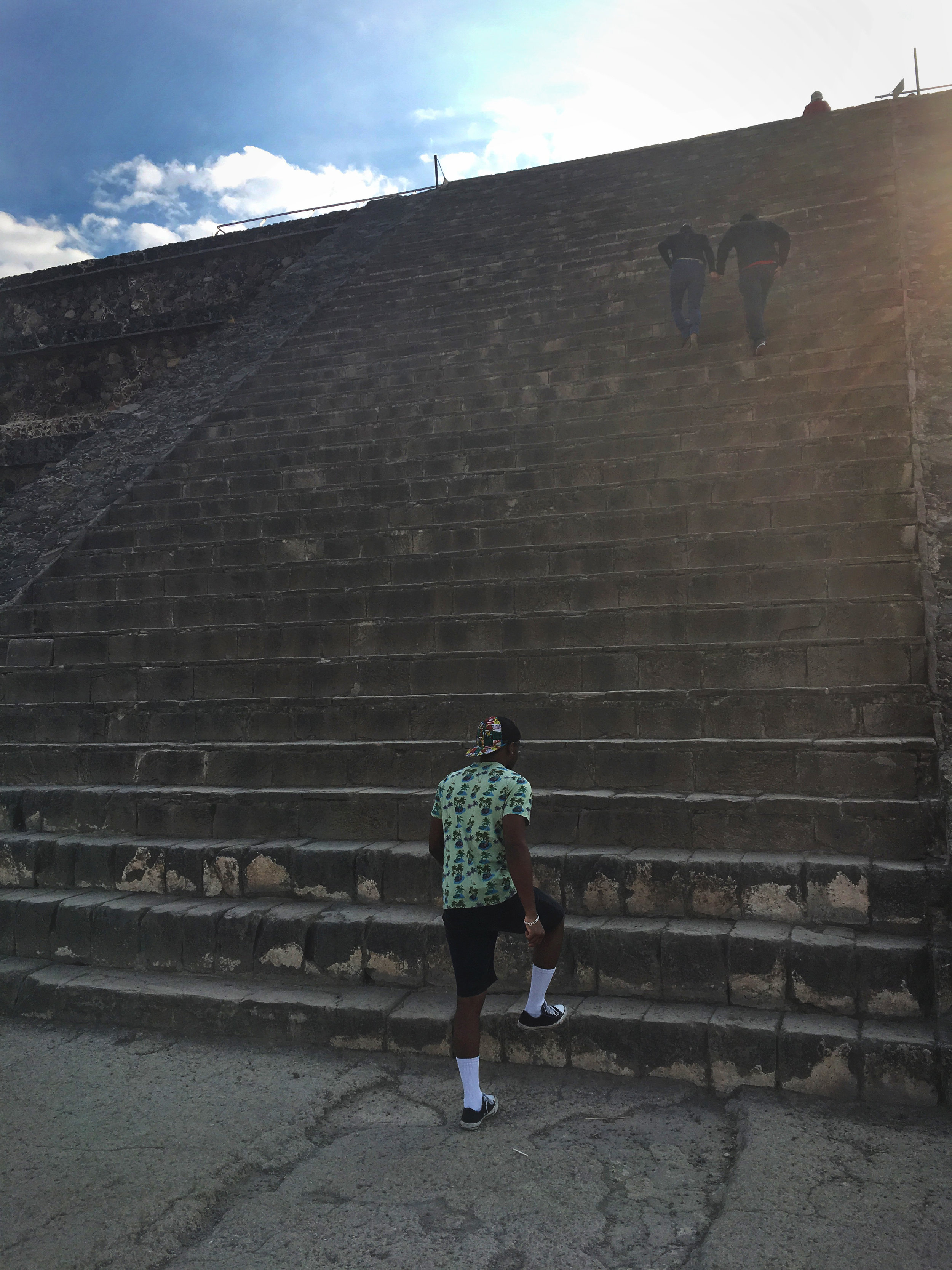 Steps leading up to a platform to view Quetzalcoatl