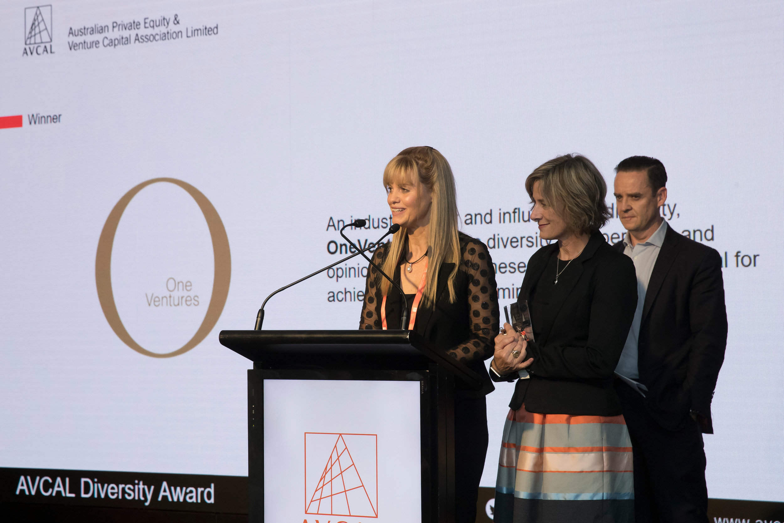 OneVentures' Managing Partners Dr Michelle Deaker and Anne-Marie Birkill accept the 2017 AVCAL Workplace Diversity Award on behalf of OneVentures.