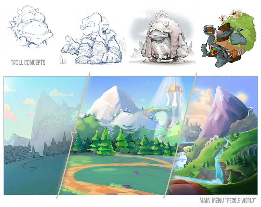 Iterations from rough concepts to final styles. Considerations were made for how assets would be built and animated and how they would exist together as a composition.