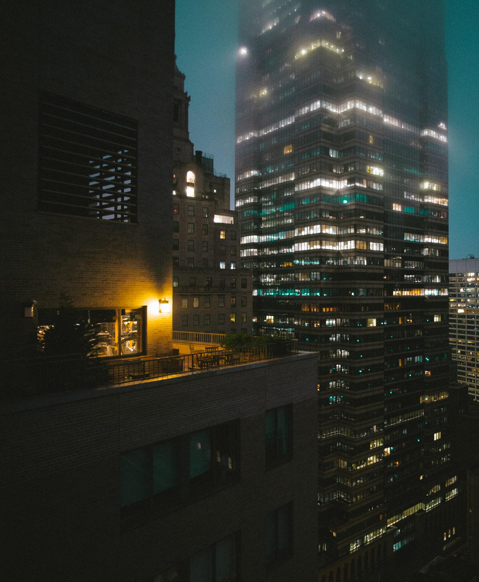 Foggy dawn on Wall Street. Fuji X-pro1, Rokinon 12mm f/2 (50% crop).