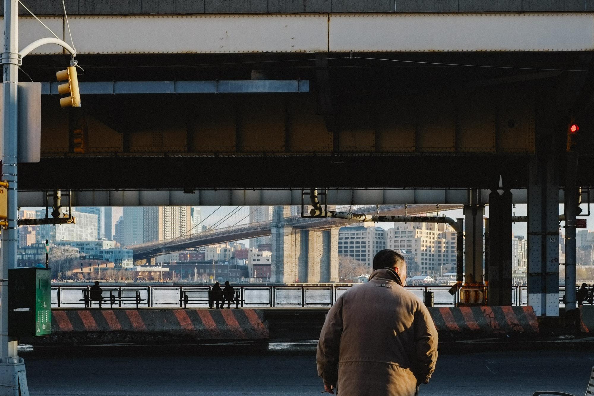Man in Two Bridges, Manhattan. Fuji X-pro1, Fuji XF 35mm f/1.4.