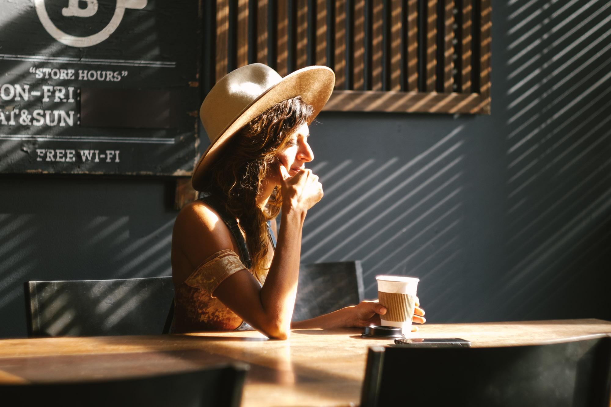 A woman in cafe in Williamsburg. Fuji X-Pro 1, Helios 44-4.