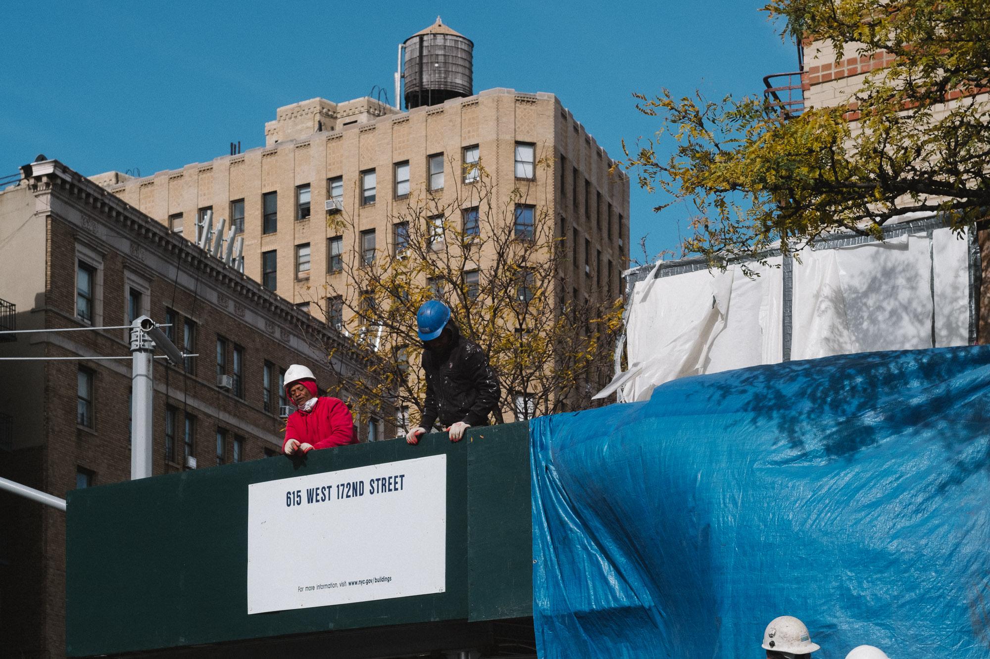 Construction workers in Washington Heights, Manhattan. Fuji X-Pro 2, Helios 44-4.