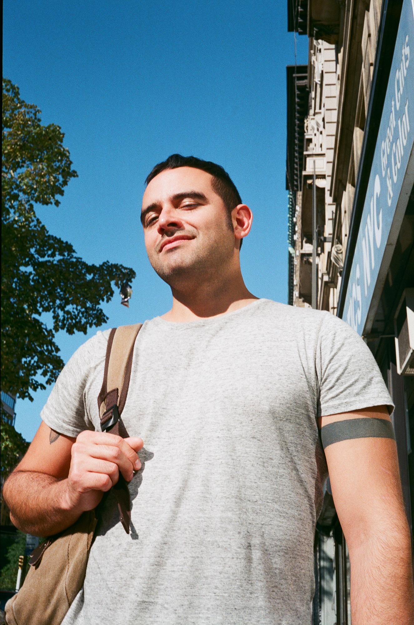 Fernando on Broadway in Harlem. Canonet QL17, Fuji Superia X-Tra 400.