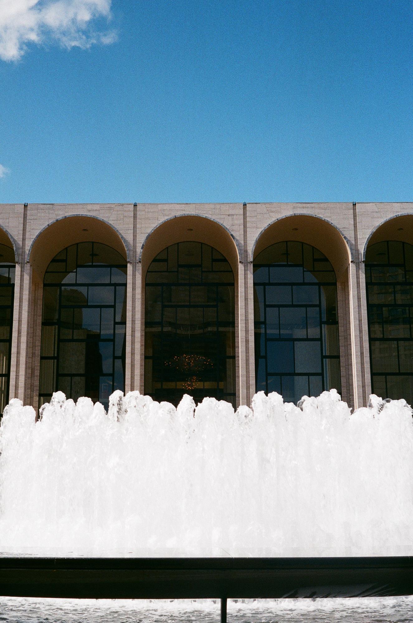 Lincoln Center fountains. Canonet QL17, Fuji Superia X-tra 400.