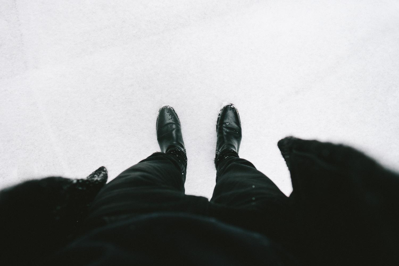 Boots in the snow.Fuji X-Pro 2, Fuji 16mm f/1.4.