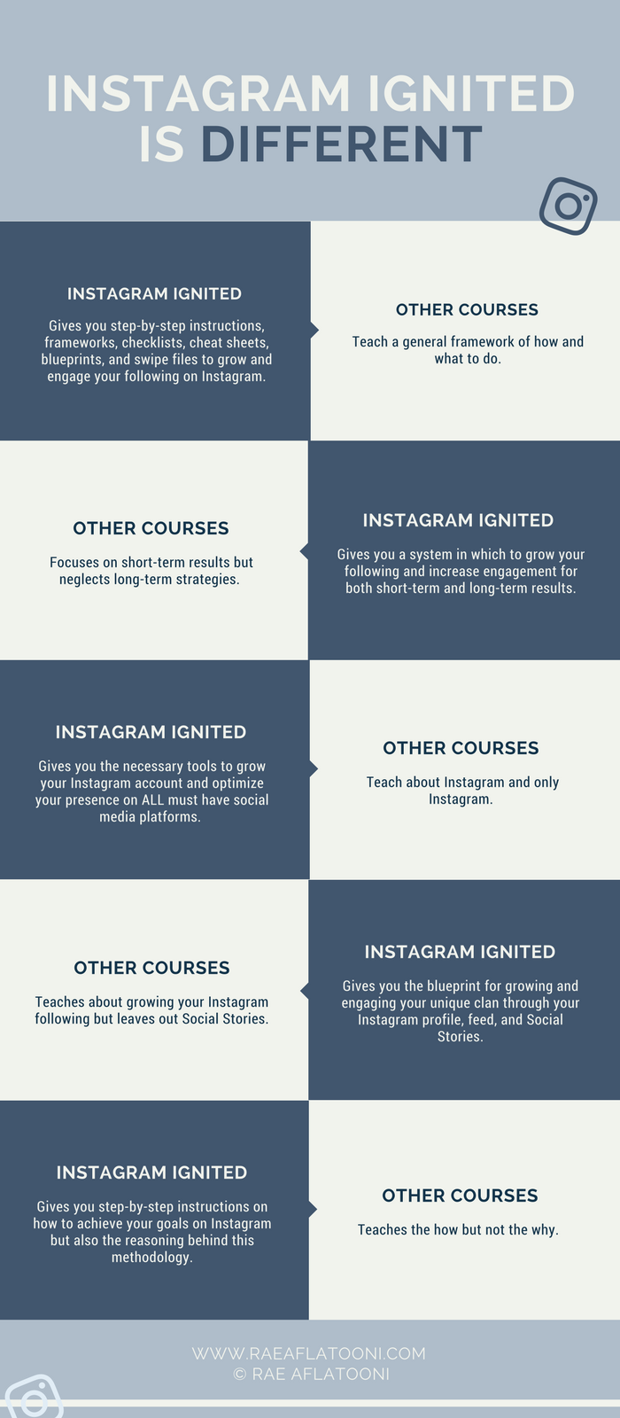 Instagram Ignited is different and this infographic shows how it compares to other courses.