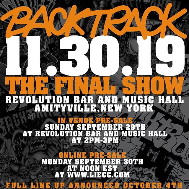 Our final show will be at Revolution on 11/30. Pre-sale goes up Monday BUT Long Islanders get first dibs on Sunday, just come to the venue anytime between 2PM - 3PM. However many tickets leftover will be put online. Full lineup next week.