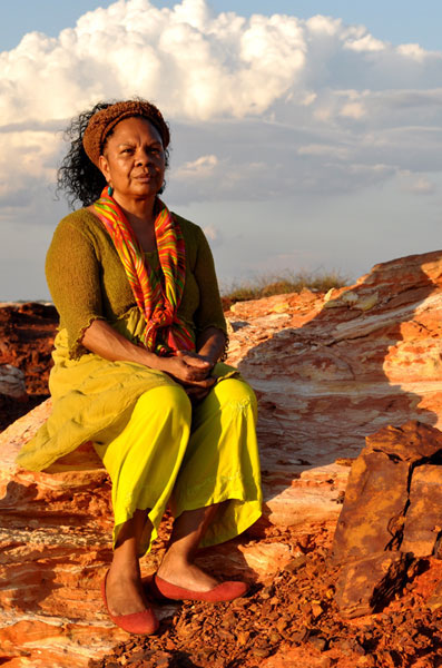 Dr Anne Poelina on country. The Kimberley, Western Australia.
