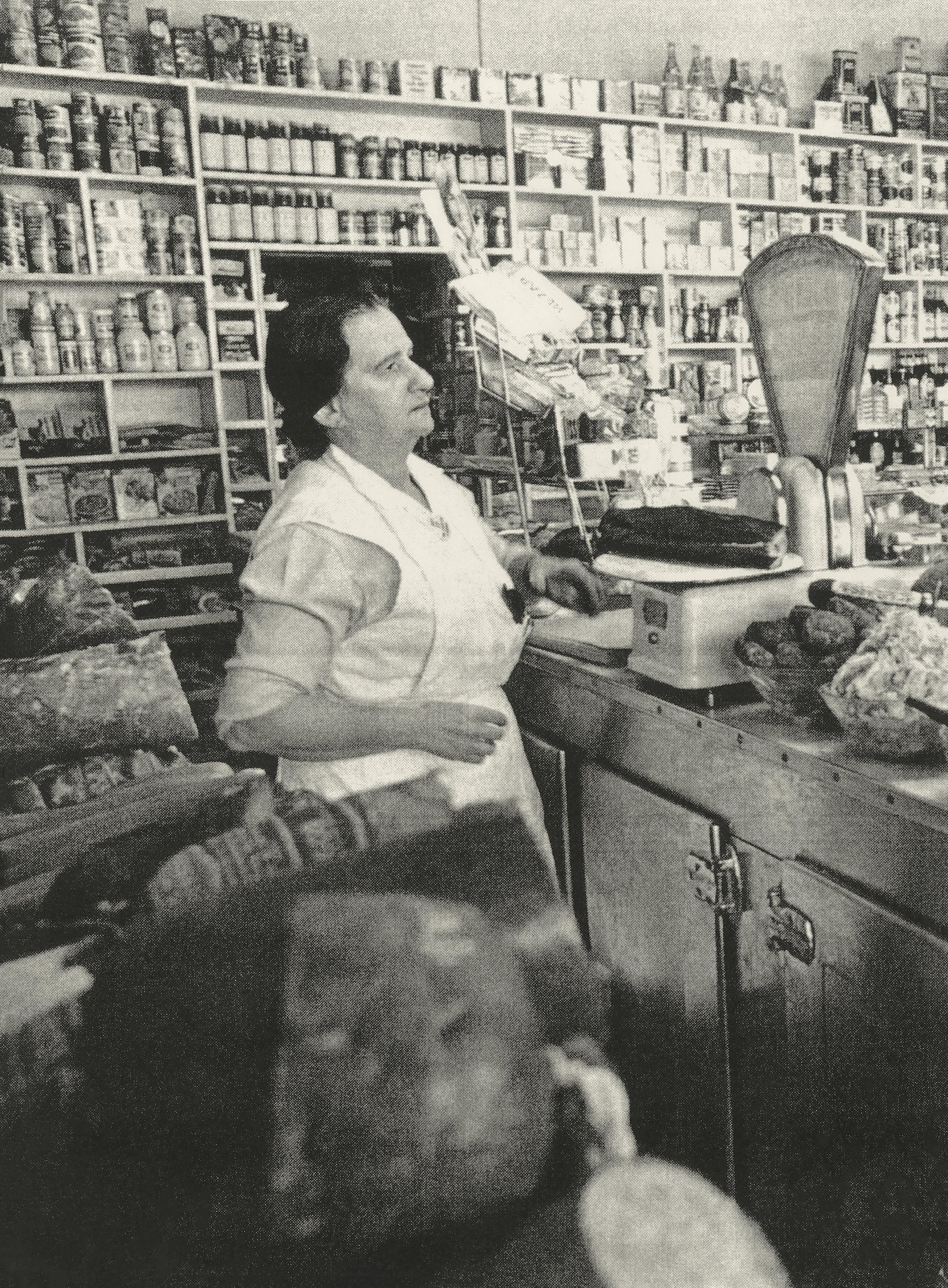 Rose Lewis in her famous deli and cake shop, Rosemarie, in South Yarra (date unknown).