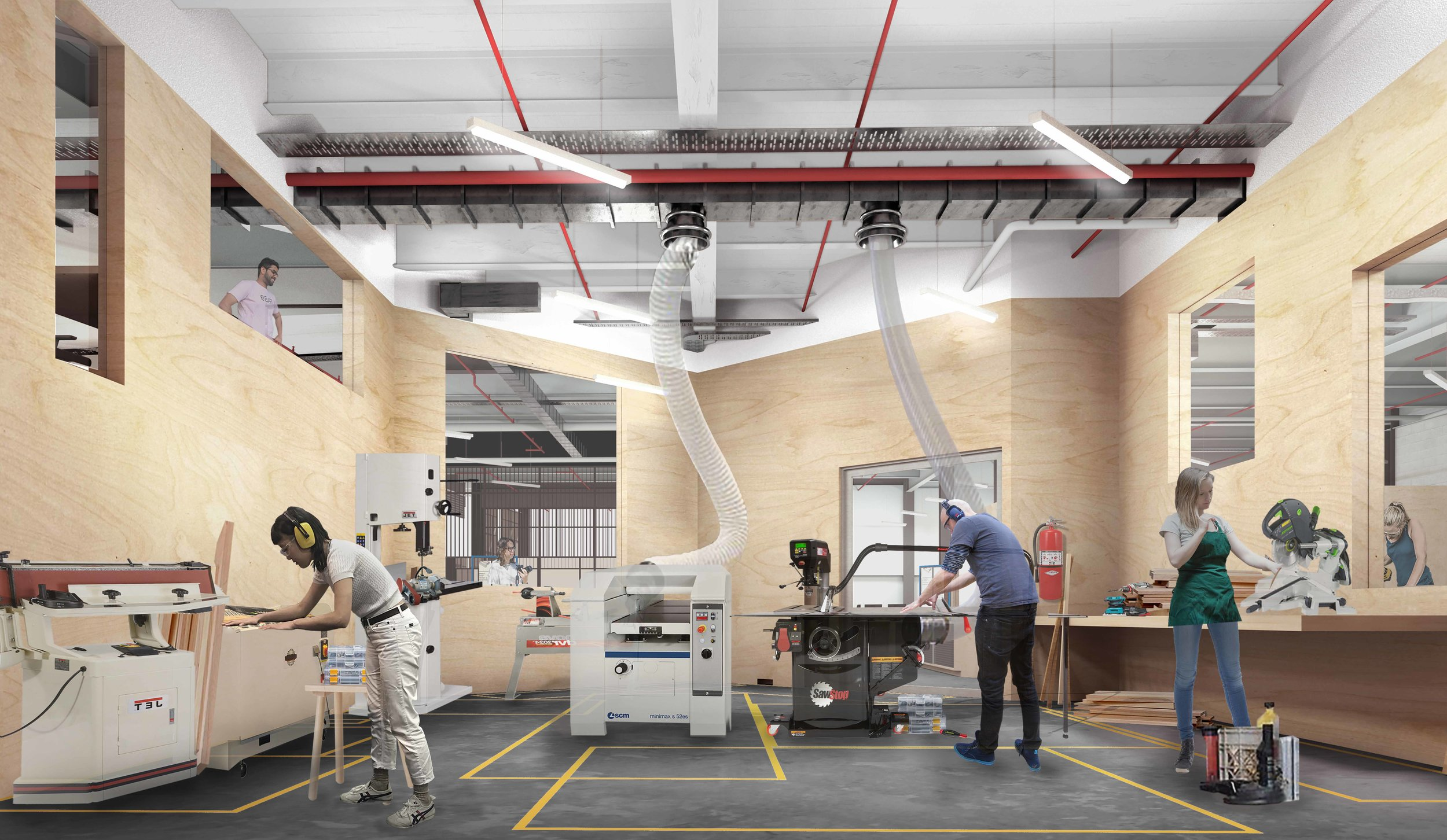 An artist's impression of what to expect inside FAB9's Makerspace.