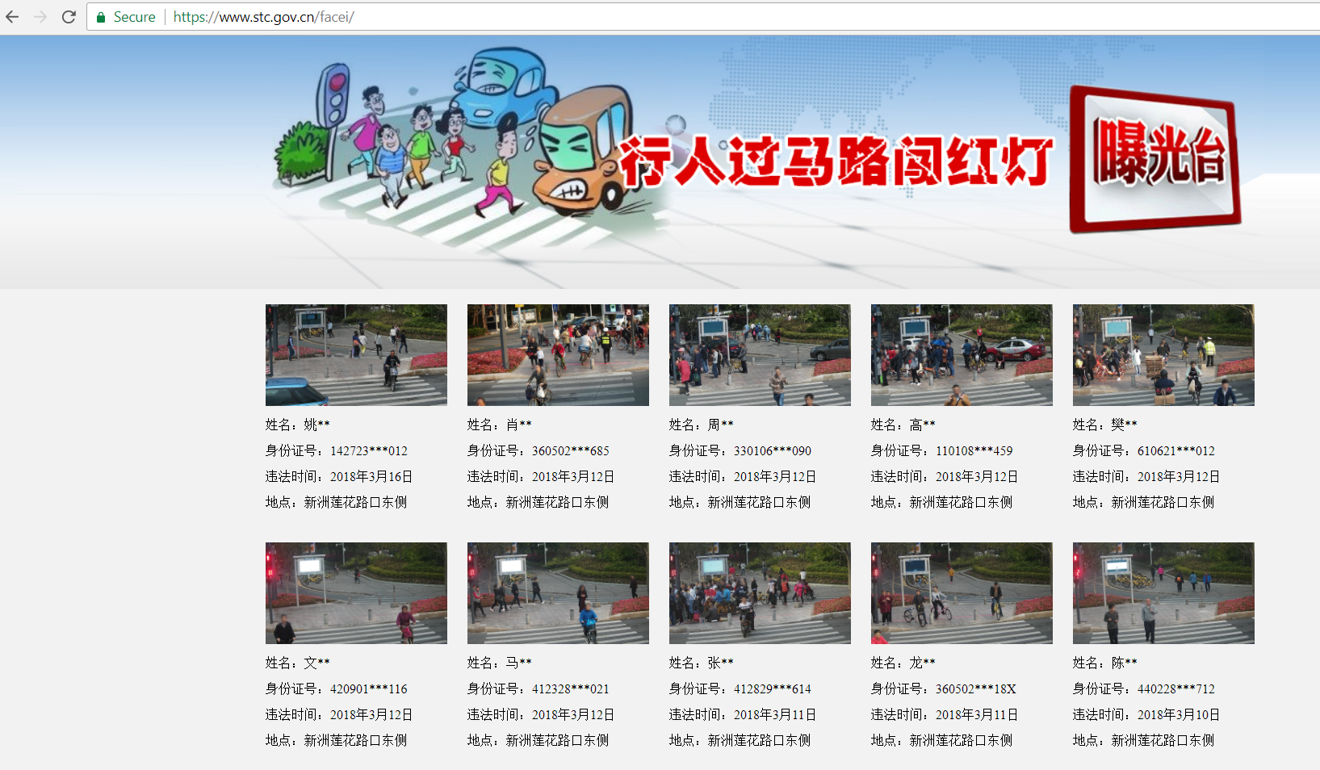 The Shenzhen traffic police's webpage, launched in March 2018, displayed photos and names of jaywalkers.  Photo from  South China Morning Post .