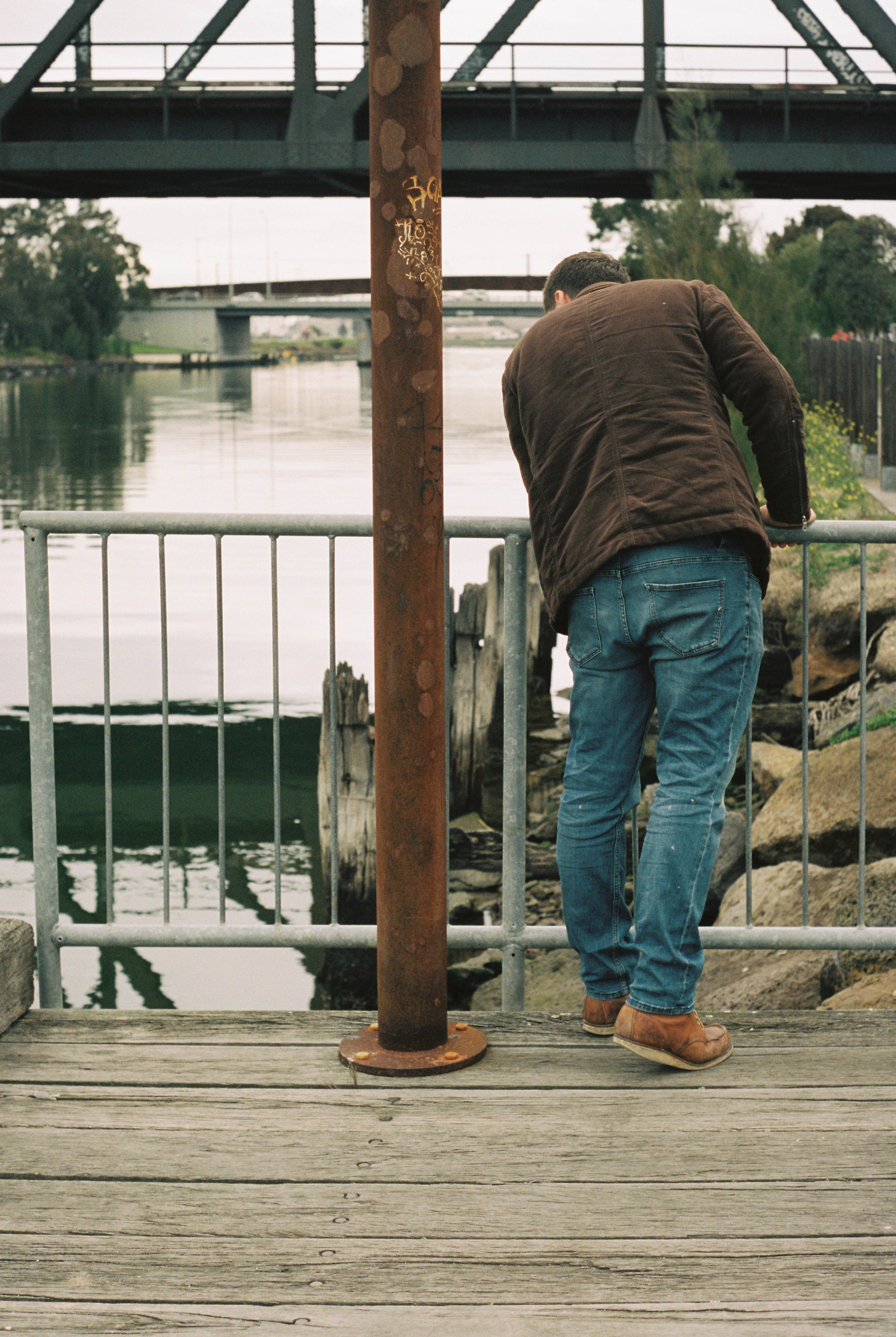 Mitch Mahoney at the spot where the eel trap will be launched into the river. • Photo by Mathew Bate