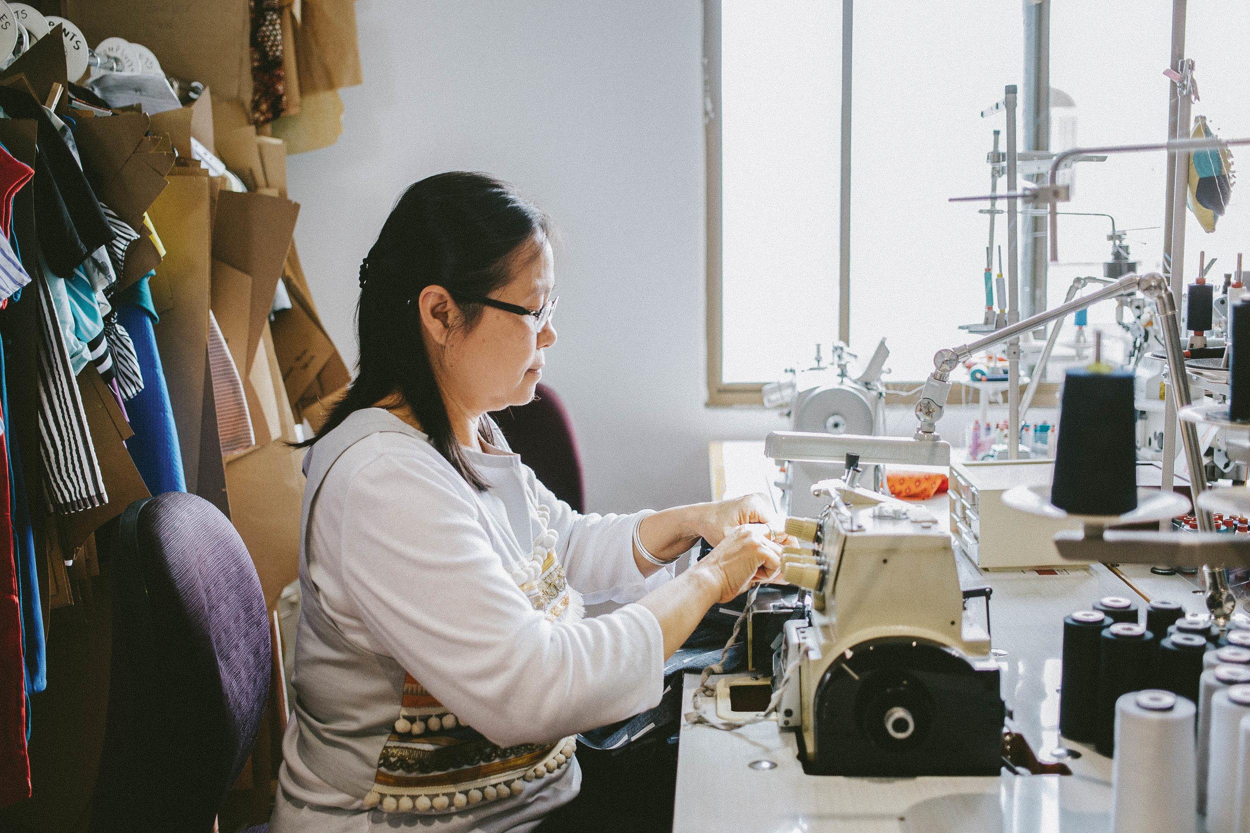 TSO sewing technician Naw Esther Han. • Photo by Luisa Brimble