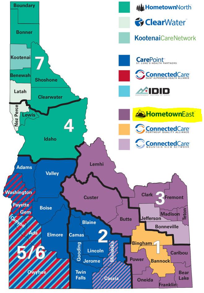 Blue Cross primary care provider per county