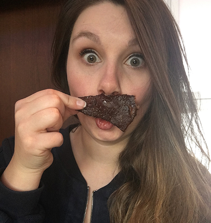 She appears to enjoy our Bourbon Black Cherry Pork Jerky a bit too much! IG @eacovelli