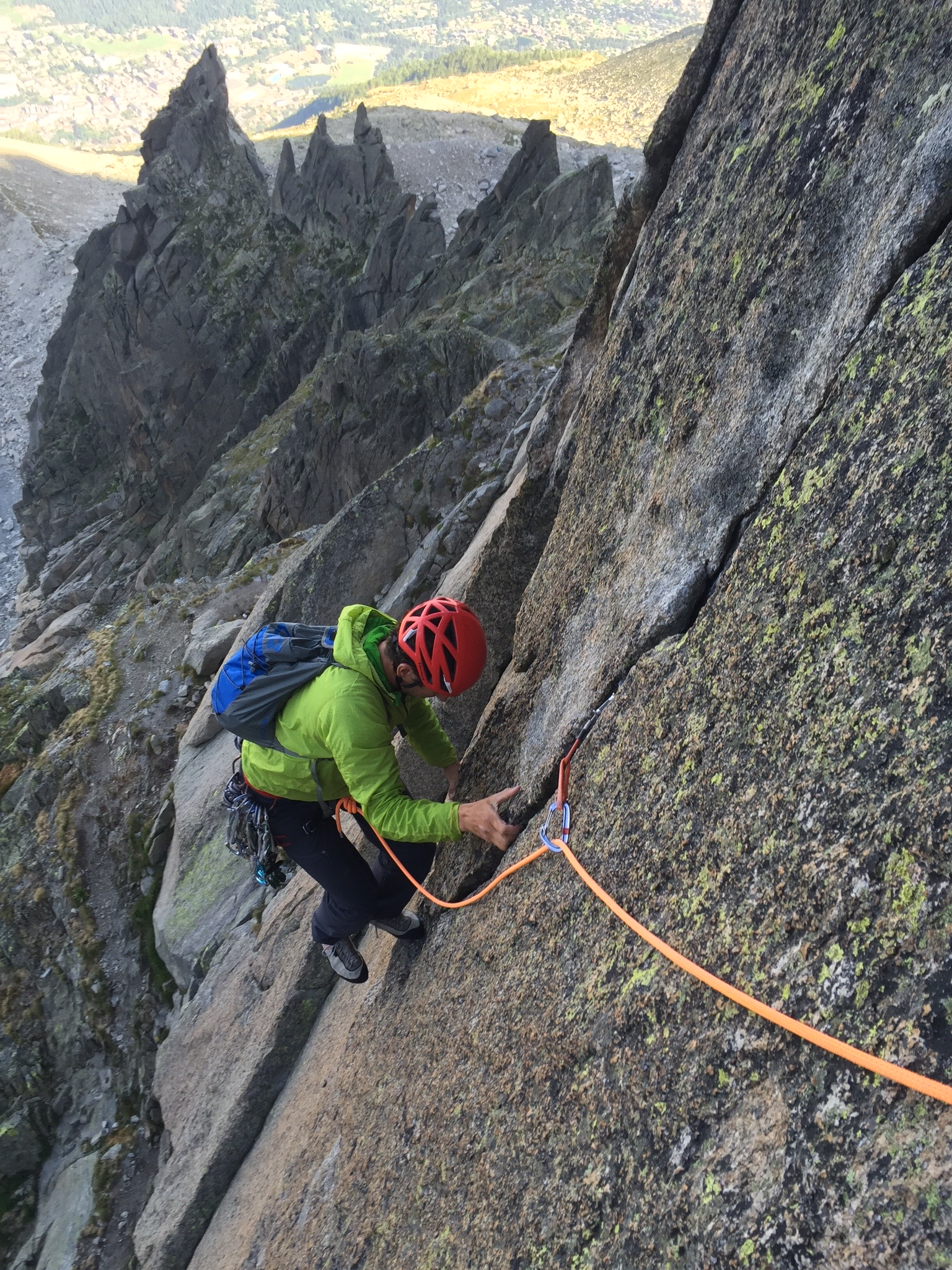 Granite crack climbing above the Chamonix Valley in France