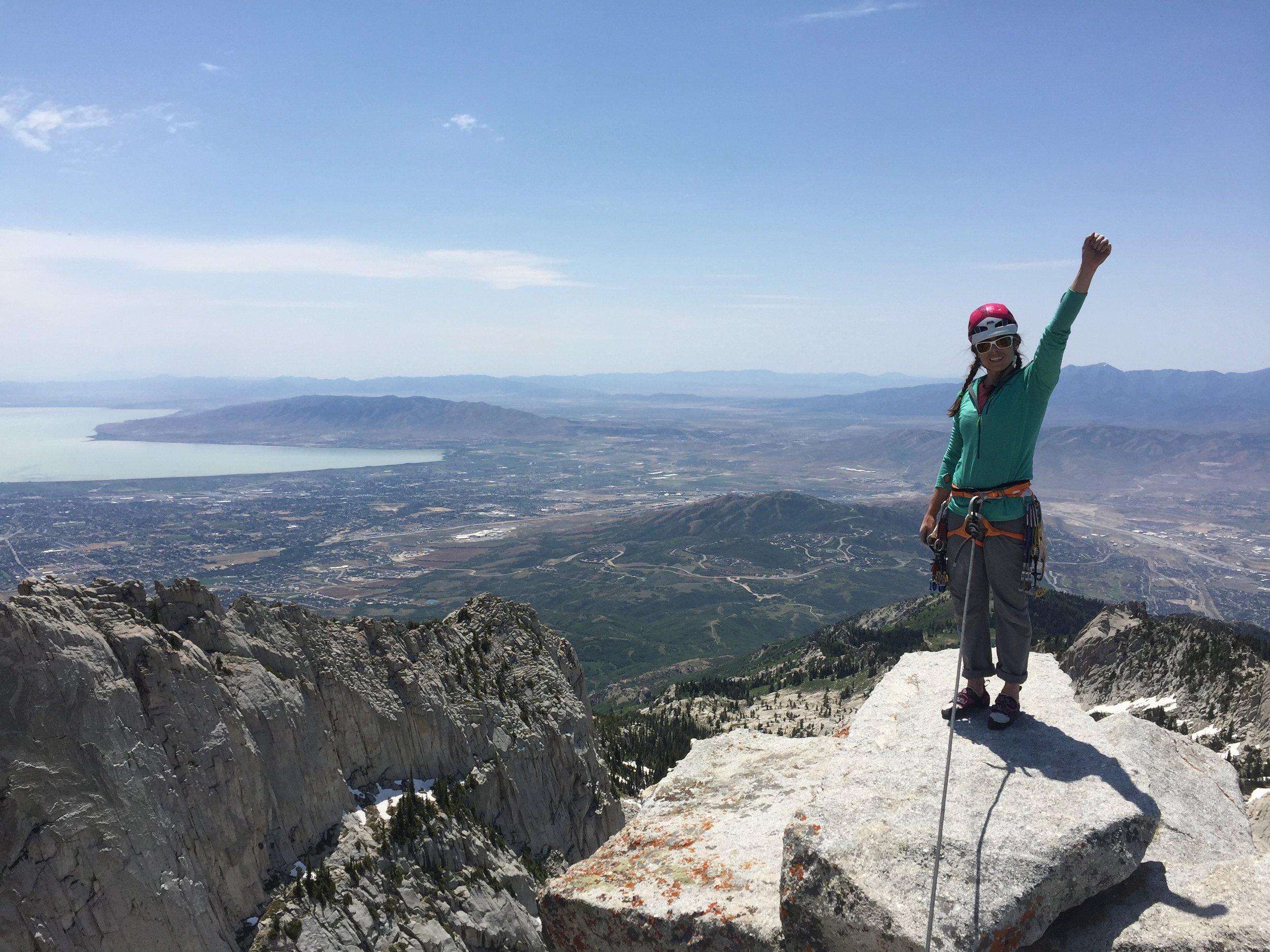 Climber on the summit of Lone Peak, Utah