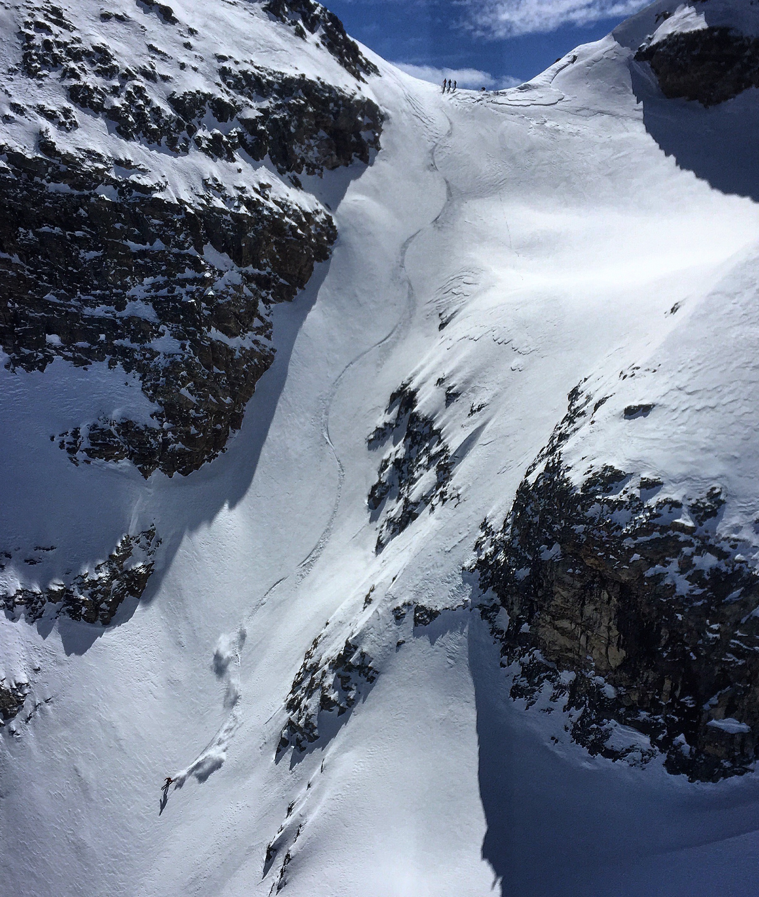 Jonathon Spitzer opening the prize line in the Ruby Mountains, NV