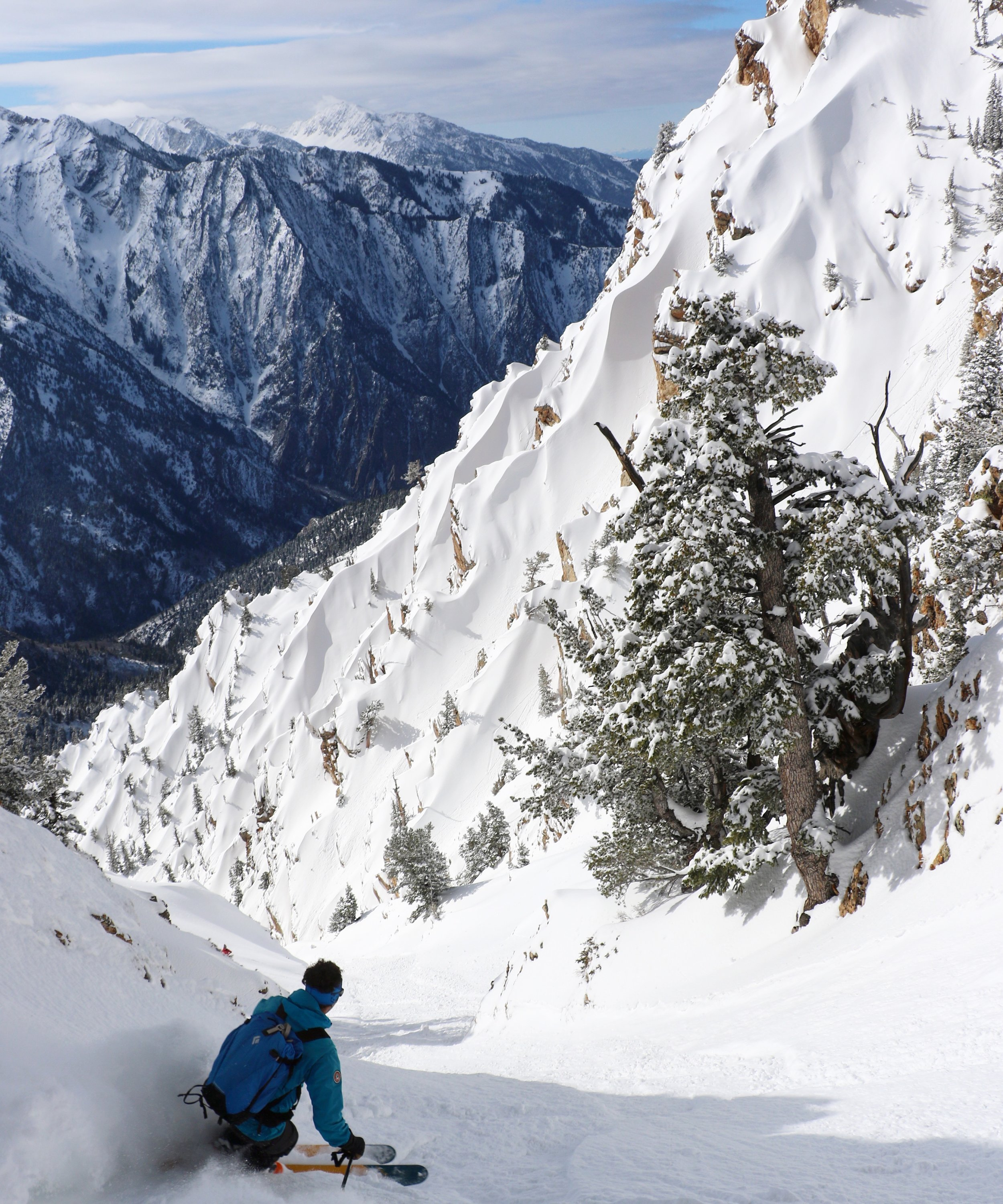 Fresh tracks down an obscure couloir in the Wasatch Mountains, Utah