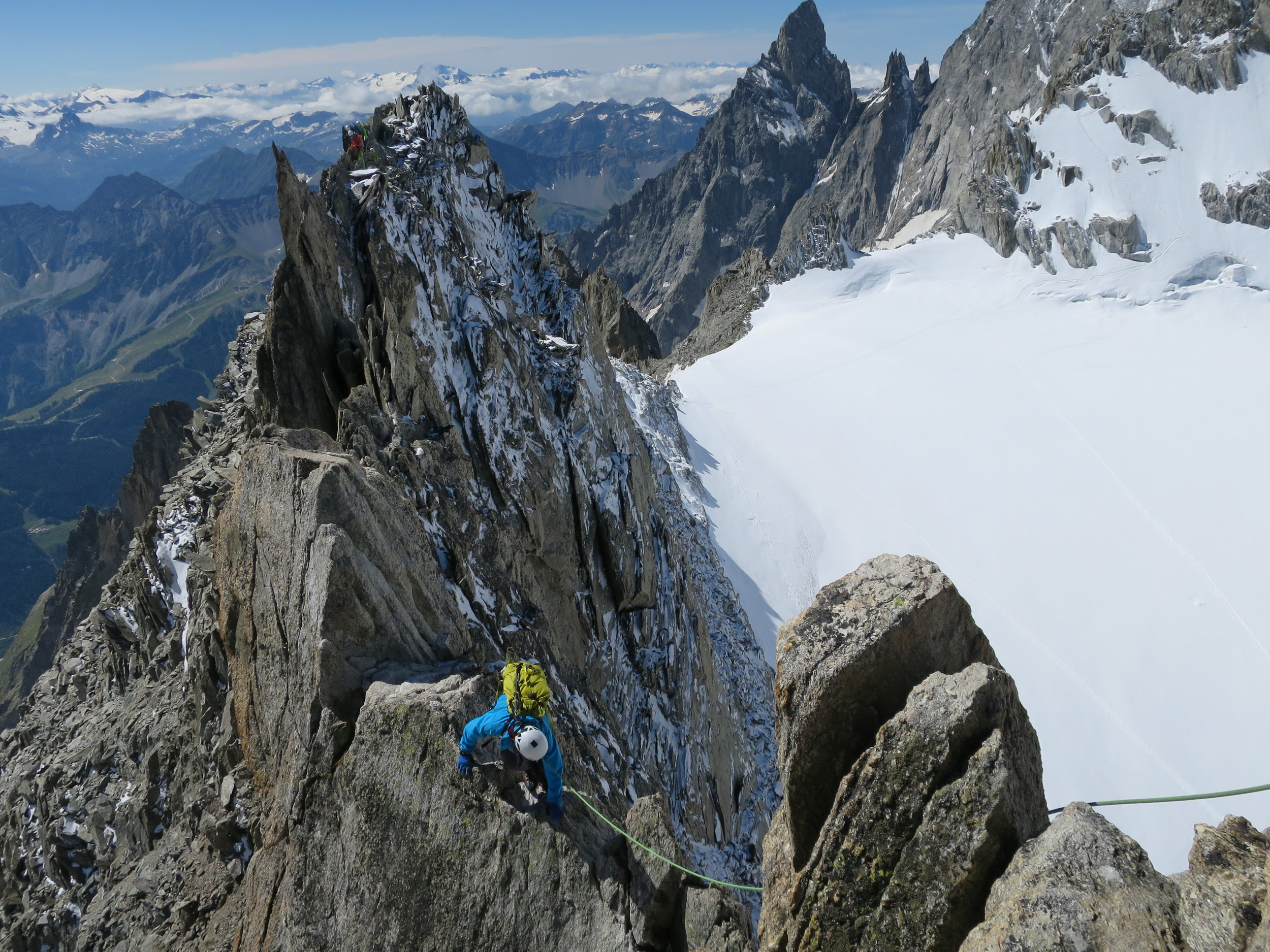 Walking the line on the Aiguilles d'Entreves Traverse on the French/Italian border