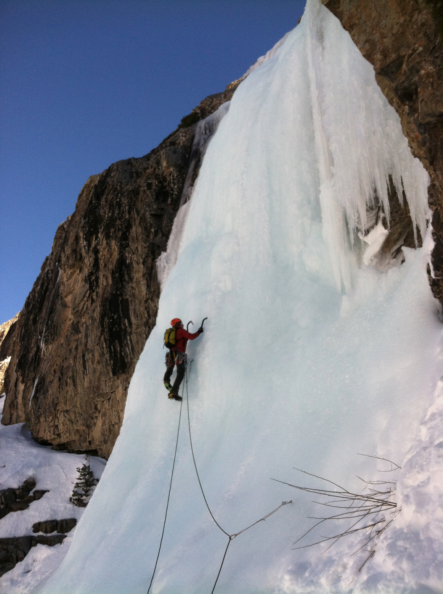 Ice climbing on Stairway to Heaven in Colorado