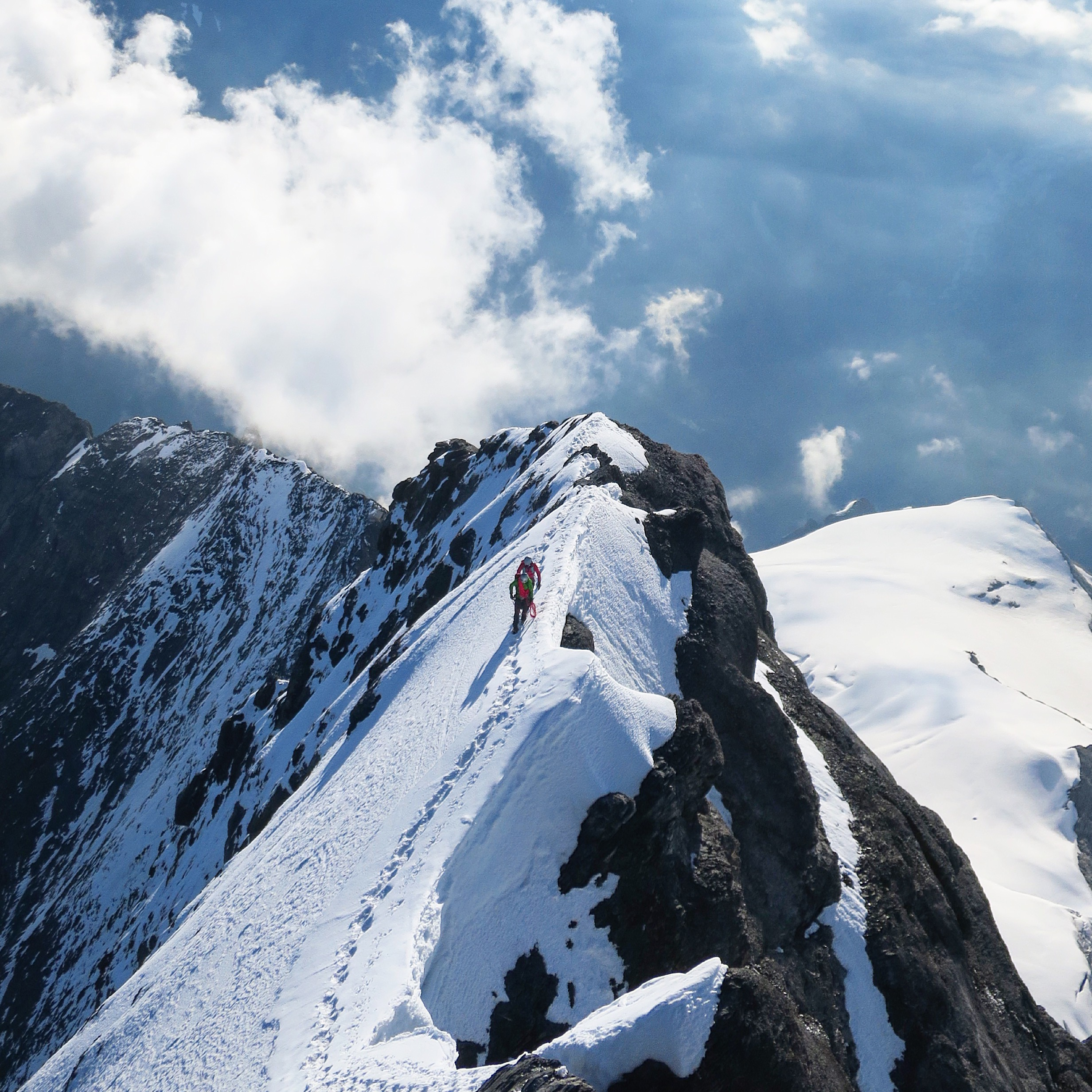 Climbers nearing the summit of the Eiger