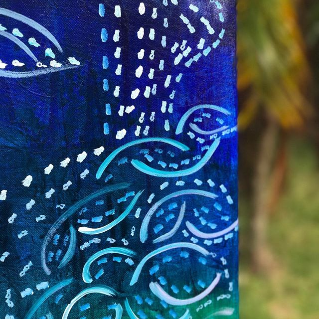 "I can't wait for the full reveal on this piece!!!!!! 😍😍😍😍😍😍 The only reason I'm waiting is because I HAVE to write a blog piece that goes with this 20"" x 60"" Canvas that I started on the night of the Fall Equinox, and the sun and some hiking is currently calling me outside. But later today.... . . For daysssss I was ""sure"" this was going to be some kind of chakra/moon/seasons type painting. It has all the colors... MANY MANY layers... texture... well anyway. It's not. 😱 Please stay tuned... I would love for you to experience this with me. 💜💕🌈🌈🌈🌈🌈🌈🌈🌈🌈🌈🌈🌈🌈🌈🌈🌈"