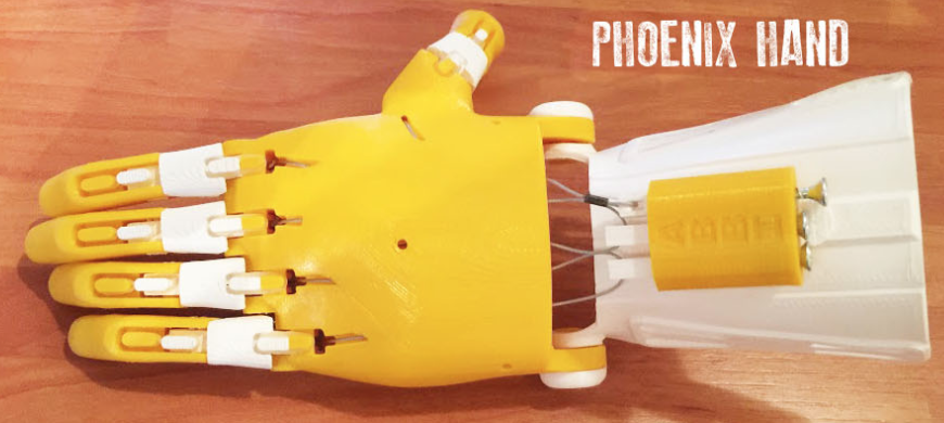 Phoenix hand  - From Enabling the future website and downloaded via Thingiverse.Requires wrist to activate grasp and one grip pattern.Open-source and low cost