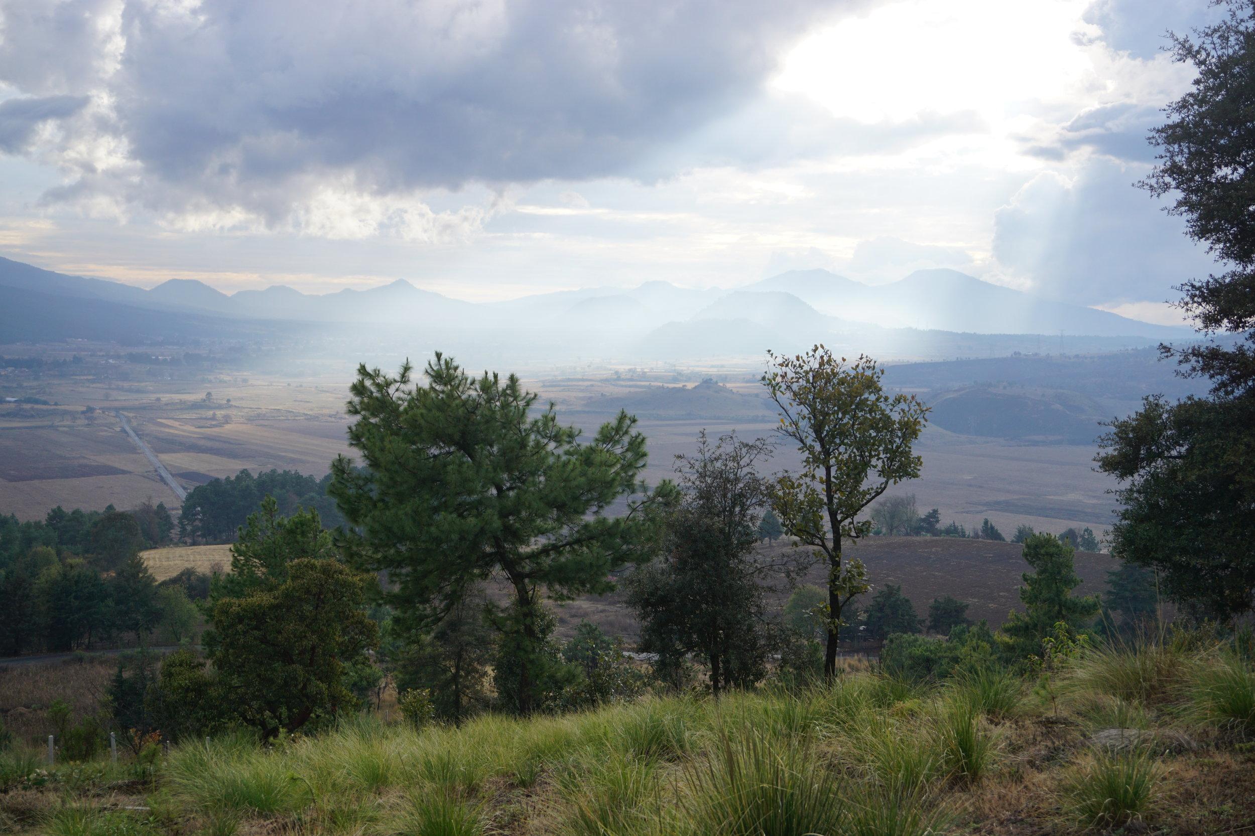 Valley below Cherán Atzicurín after rain shower