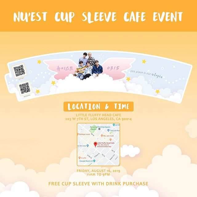 Show your love ❤️❤️❤️ Come get a free Nu'est cup sleeve today from 11-9pm