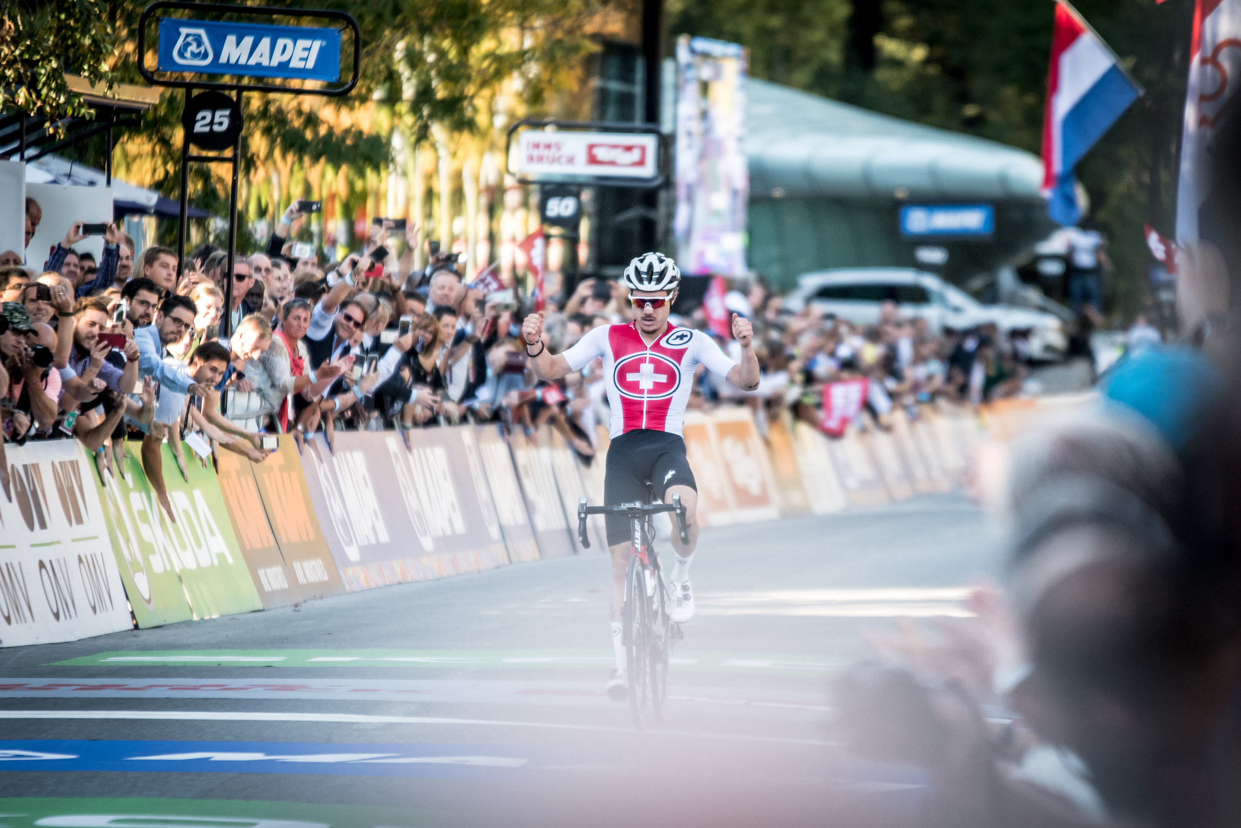 Swiss rider, Marc Hirschi taking out the under 23 men's road race in solo fashion.