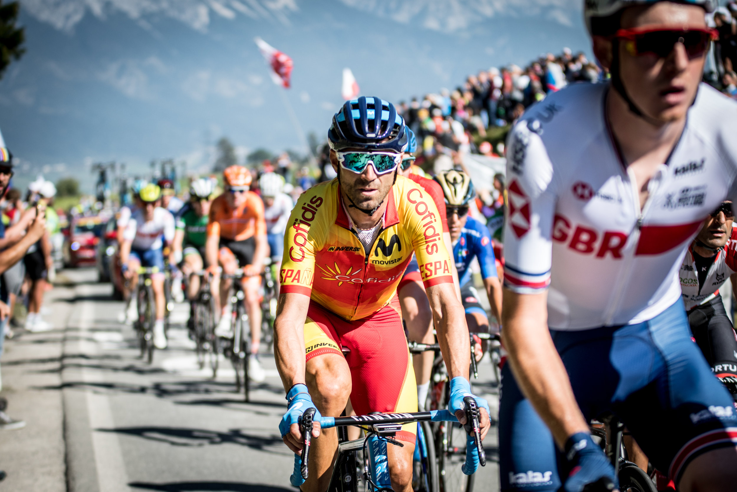 Alejandro Valverde early in the race. The veteran called upon all his experience here in Innsbruck.