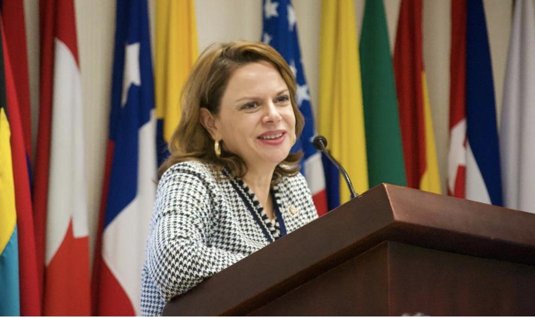Fotografía 2:Señora Ana Helena Chacón, vicepresidenta de la República de Costa Rica, exponiendo sobre la Opinión Consultiva 24ante la Corte Interamericana de Derechos Humanos.Instituto Interamericano de Derechos Humanos, Costa Rica.