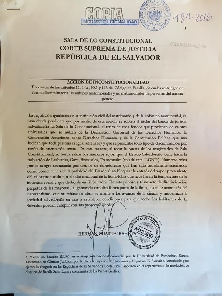 Copia de recibido de la demanda presentada en noviembre del 2016