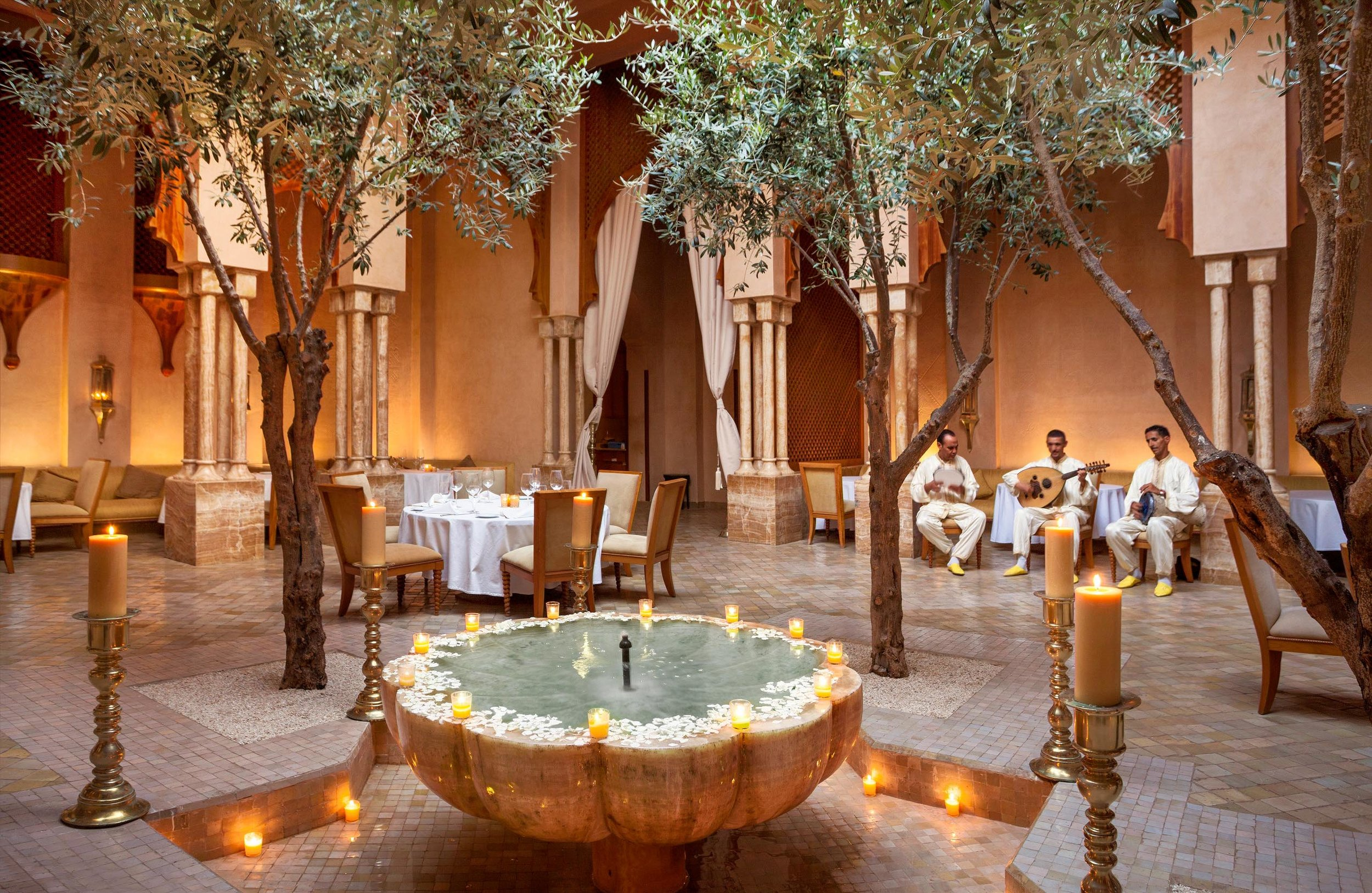 The stunning Moroccan restaurant complete with the rose petal-laced wishing well and local musicians.