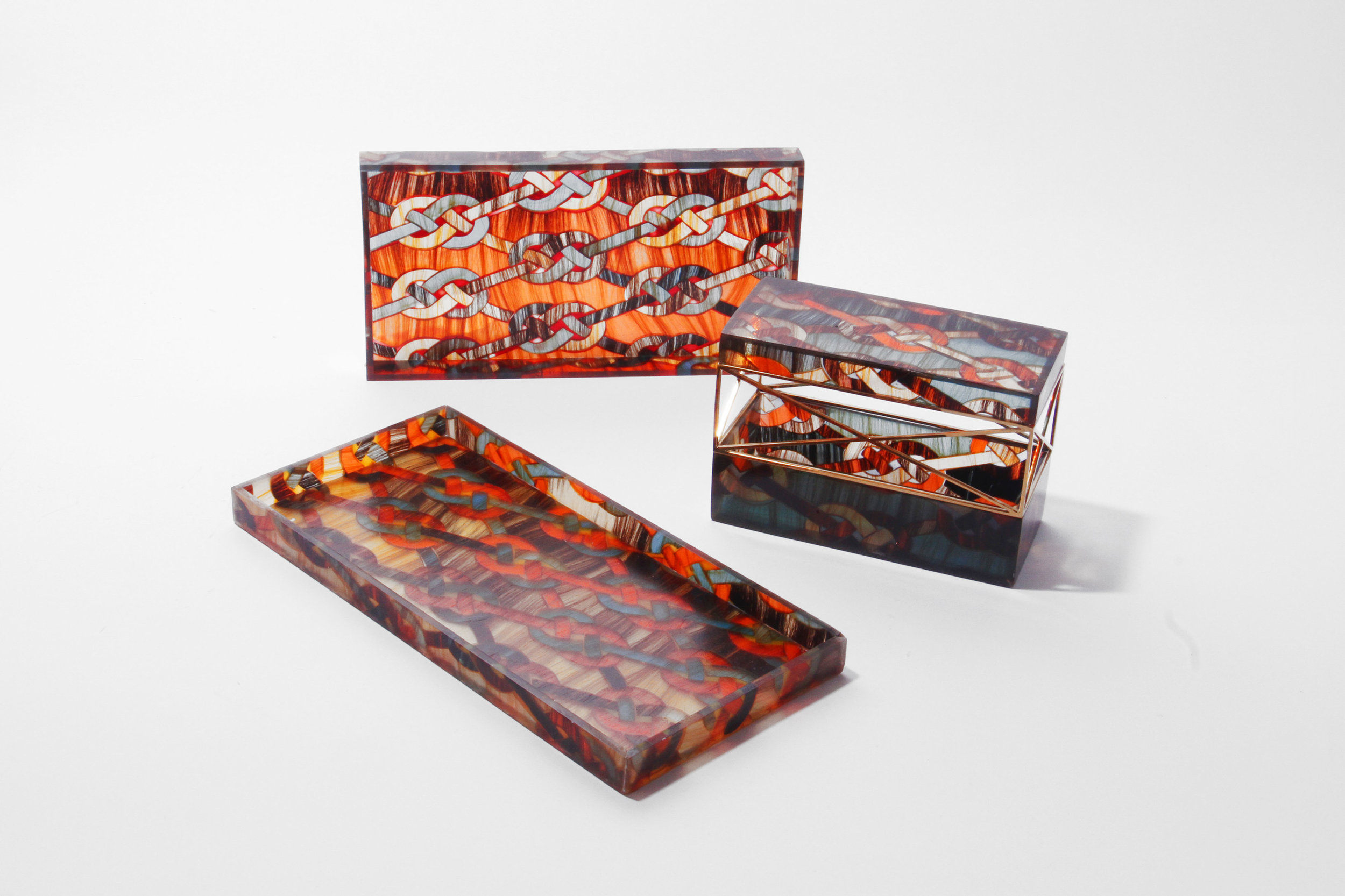 The series of Hair Highway Jewel Boxes is made of the new material mixing hair with natural resin.