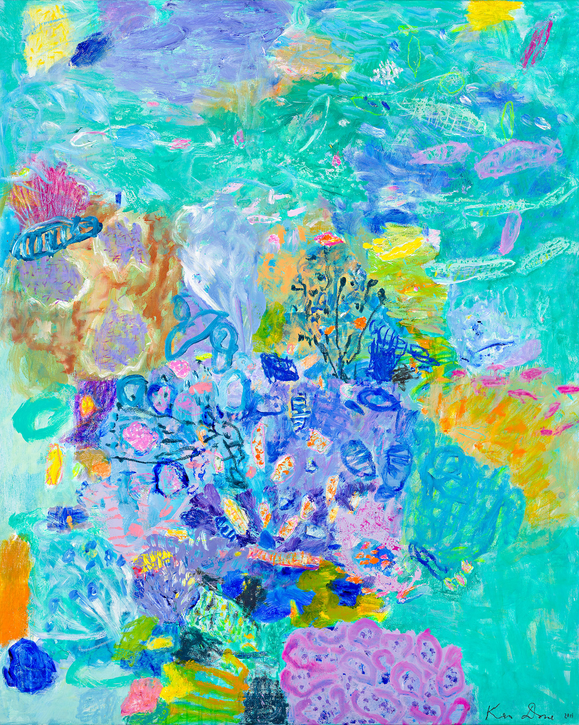 Turquoise coral head I, 2011, oil, oil crayon and acrylic on linen, 152 x 122cm