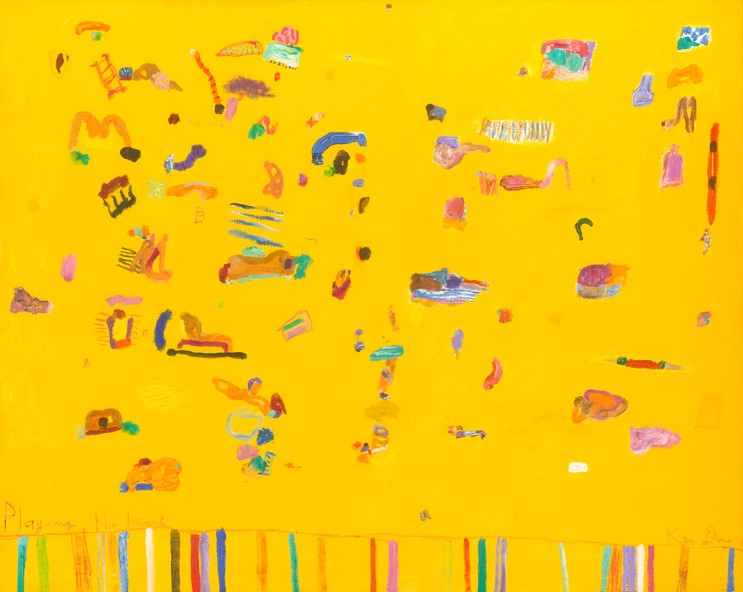 Playing the beach, 2012, oil, acrylic and oil crayon on linen, 122 x 152 cm