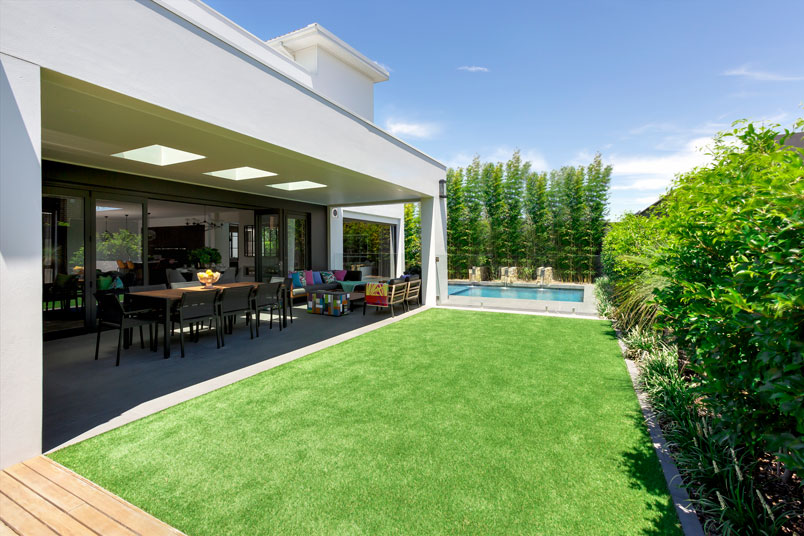 """""""It's a really chilled out, relaxed lounge courtyard, and we put the water feature in as a focal point because you look straight out there from the kitchen bench."""""""