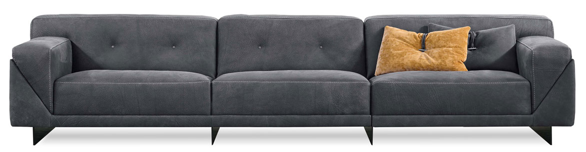 rant Sofa, Dandy Home.  The Grant sofa is an exciting addition to the collection. The frame is dressed in sauvage soft leather, in other words, the crem!' de la crem!' of leathers. The button detail is a nod toward fashion forward Italian design.