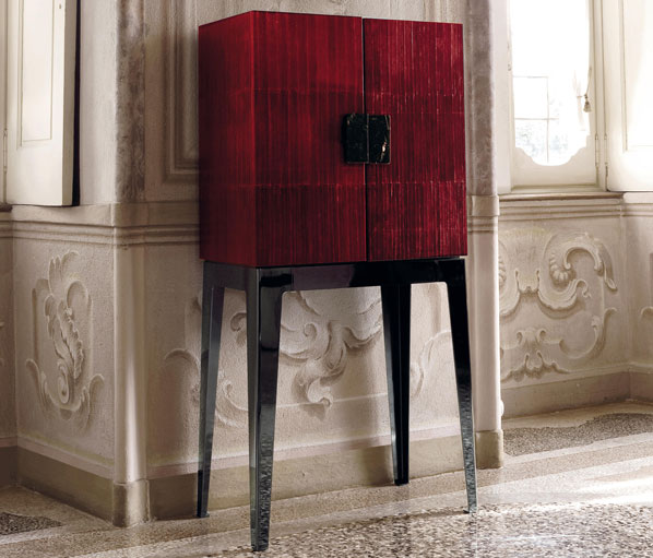 Lady by Longhi S.p.a. 2007  Wood doors covered in leather, with marble handles. 