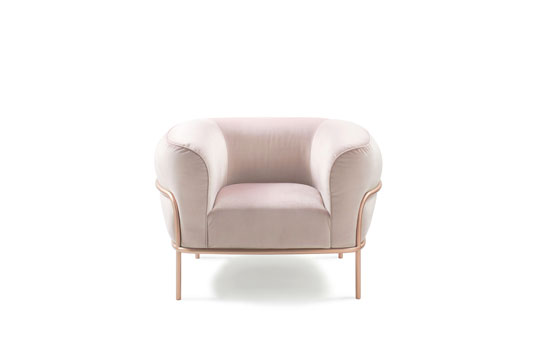 Sophie Sofa Chair for Gallotti & Radice  2018    Sophie stands out through its unusual proportions, for having an expressly feminine charm. The visible metal structure outlines the curves of the armchair and enriches its sign. The designer has imagined an extremely comfortable seat, as imposing as a throne, and as elegant as a woman. This product represents the concept of femininity that is hidden inside every woman: it's authoritative, but at the same time soft and reassuring.  Sophie was presented for the first time at Maison Objet 2018 in a soft pink velvet upholstery.