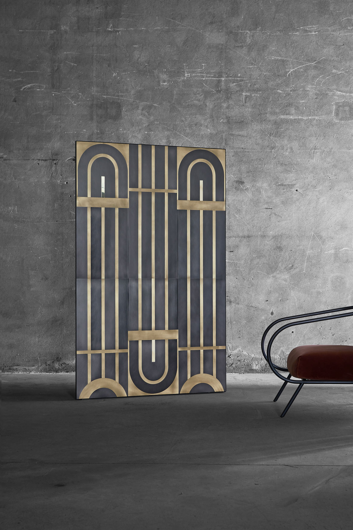 Gatsby for Mingardo  2018    Wall cladding inspired by the gates of the 1930s historical Milanese palaces. A continuous design, adaptable to any size, ideal for hotels, boutiques and large entrances in general.  The cladding works on different planes, to emphasize its forms and highlight the decoration.