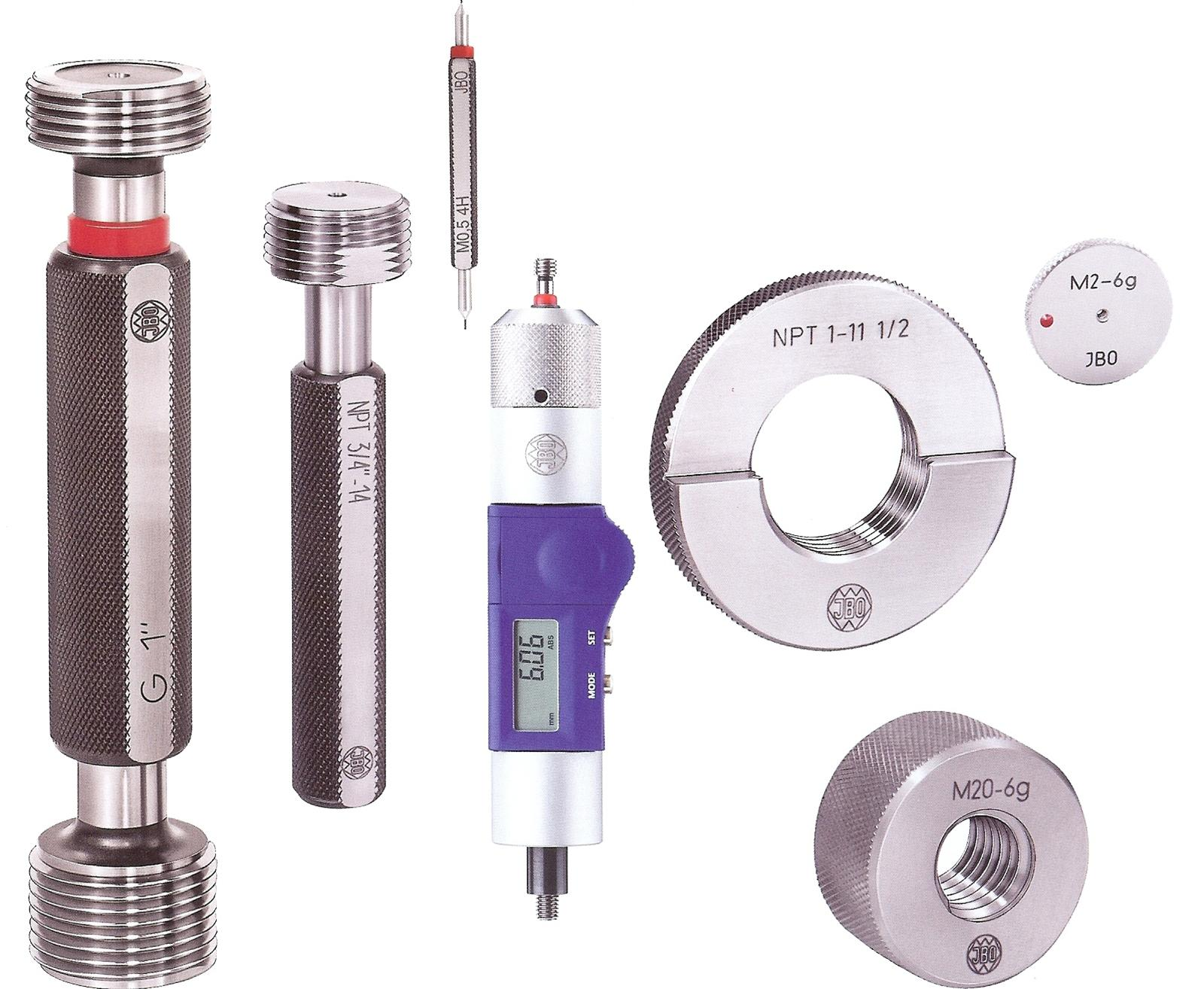 - Stocdon offers the JBO range of Standard Stocked Thread Gauges from Europe's No. 1 producer, with over 10,000 different stock items, using hi-tech manufacturing process to assure quality and price. The gauges are all manufactured in AGE Hard tool steels and this gives us super quality and better usage life.From Plug Thread Gauges to Ring Gauges and Multicheck, we carry a huge range, and offer TICN Coated Thread Gauges and Hard Chrome coated Thread Gauges.JBO thread gauges are all backed up by German DIN Standardor UKAS Thread Gauge Certificates. For a complete measuring solution, MULTICHECK Thread Gauges enable length and diameter checking.The MULTICHECK programme is offered with sleeve.Vernier,Digital systems for reading lengths and now the eMULTICHECK is available with powered automatic control for depth.