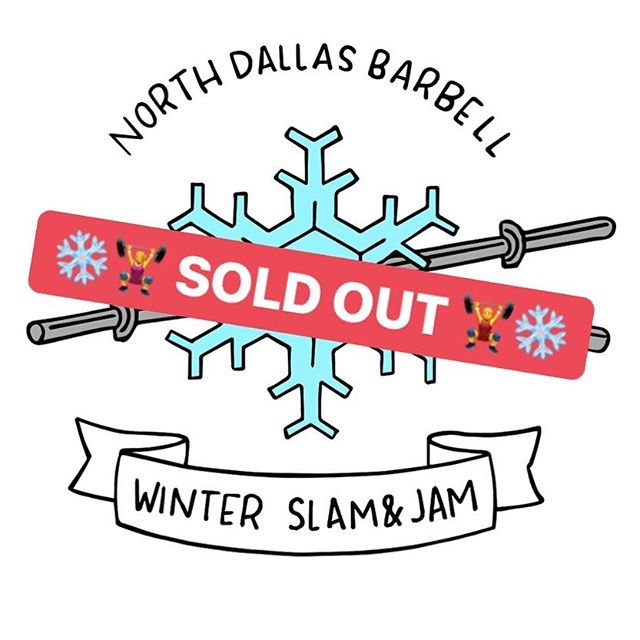 Looking forward to hosting the 60 athletes taking part in the North Dallas Barbell Winter Slam & Jam 🏋️♀️❄️🏋️♂️❄️ in just over two weeks! . Final event details and schedule will go out to all athletes shortly. Volunteers to load or ref are welcome - DM us! . Ready to throw down?Tag us in your training videos! #localmeet #usaw #northdallasbarbell