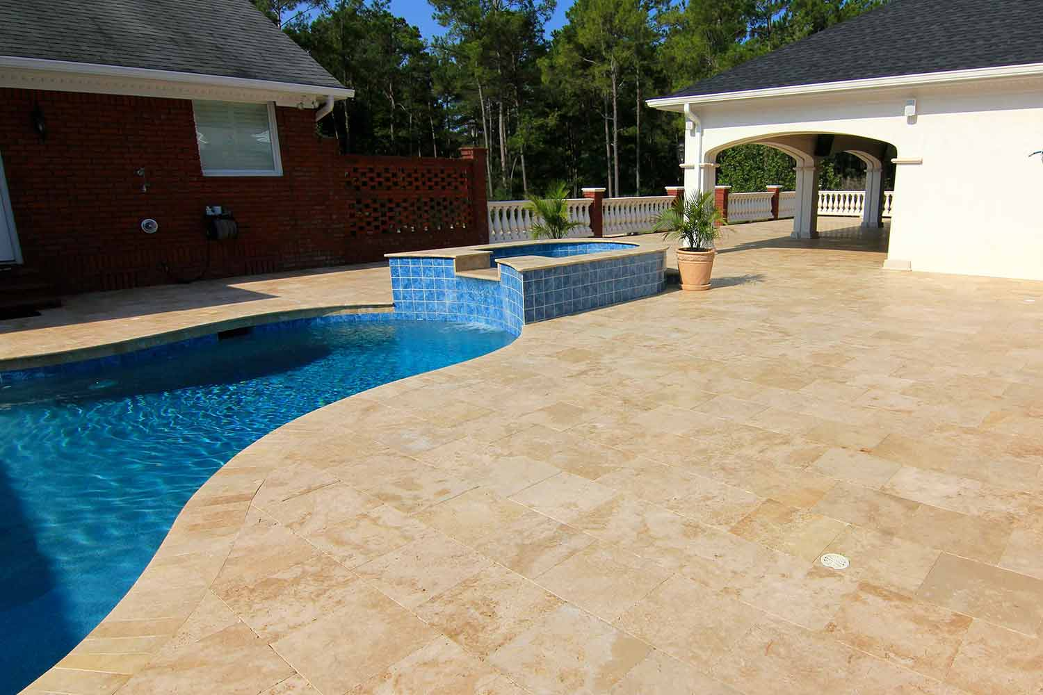 Travertine Stone Pool Deck Bluffton SC