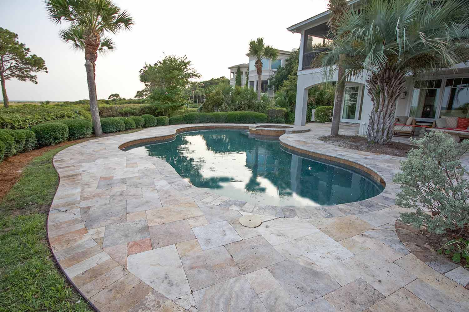 Travertine Stone Pool Deck Installation Hilton Head Island SC